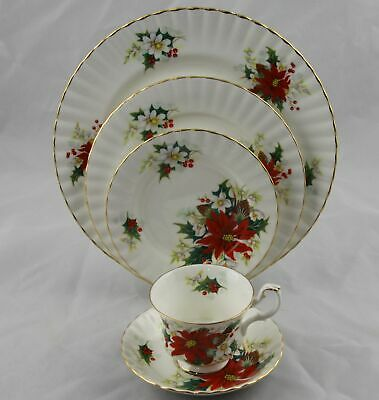ROYAL ALBERT BONE CHINA POINSETTIA 5 PIECE PLACE SETTING Multiple Available