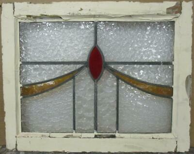"OLD ENGLISH LEADED STAINED GLASS WINDOW Gorgeous Sweep Design 22.5"" x 18"""