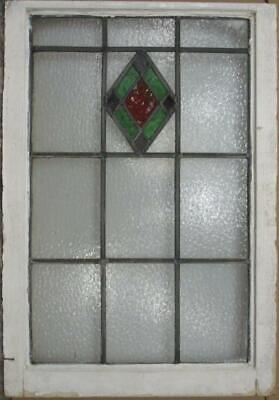"LARGE OLD ENGLISH LEADED STAINED GLASS WINDOW Gorgeous Diamond 20.75"" x 30.5"""