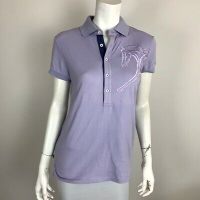 Horseware Ireland Juilette Polo Shirt Cotton Blend with Striped Sleeves