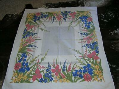 """1940's Floral Screen Print Cotton Tablecloth 47"""" x 52"""""""