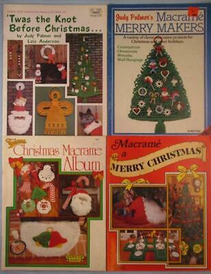 Lot of 4 Christmas Macrame Pattern Books Ornaments Stockings Angel Santa Wreath