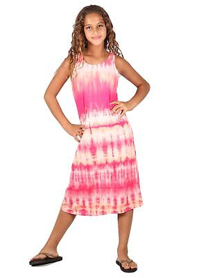 Lori & Jane Big Girls Pink White Maxi Trendy Dress 6-14