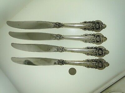 (4) Wallace Grande Baroque Sterling Silver 9-Inch Dinner Knives