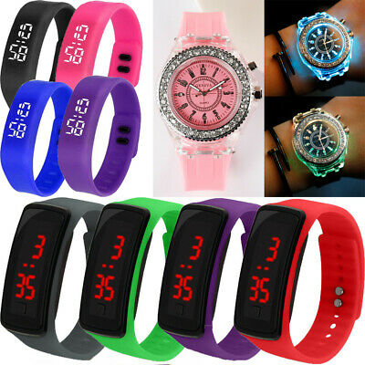 Boy Girl LED Sport Electronic Digital Wristwatch Watch Kids Children Xmas Gift