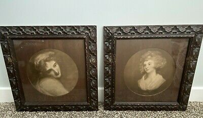"""Pair Of Antique Victorian Eastlake Carved Walnut Frames With Prints 15.5""""X 15.5"""""""