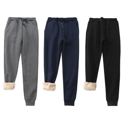 Mens Winter Loose Pants Casual Warm Fleece Cotton Trousers Joggers Thick Thermal