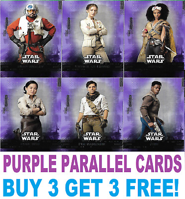Topps STAR WARS THE RISE OF SKYWALKER PURPLE PARALLEL CARDS
