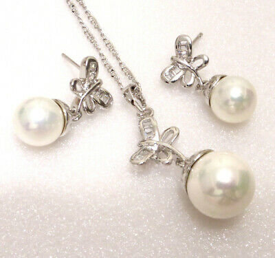 Set Drop Earrings Necklace Round Shell Pearl Cubic Zirconia White Gold Plated UK