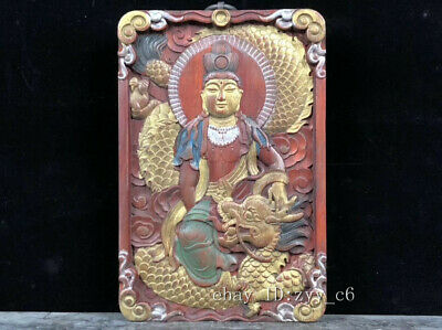 Chinese antique blood sandalwood carving and painting Drop dragon Rohan Amulet