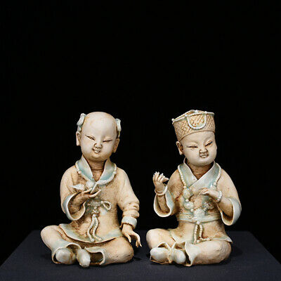 """Old Chinese cyan glaze Porcelain hutian kiln carved Golden couple Statues 5.9"""""""