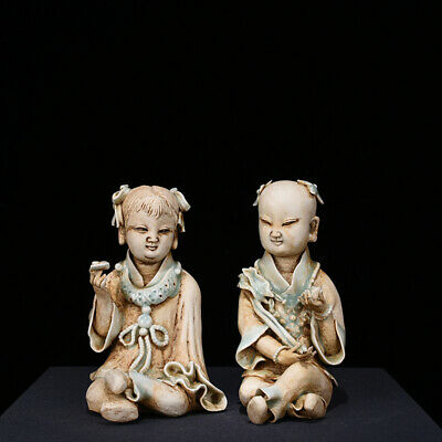 """Old Chinese cyan glaze Porcelain hutian kiln carved Golden couple Statues 5.5"""""""