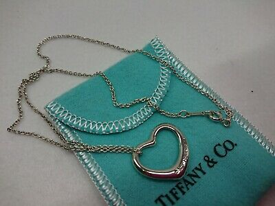 GENUINE Tiffany & Co. Sterling Silver HEART Pendant Necklace 0102330078