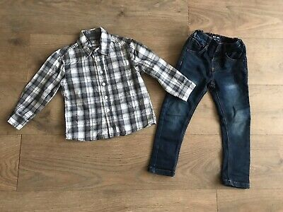 Boys outfit 2-3 years next skinny jeans & primark grey checked shirt F157