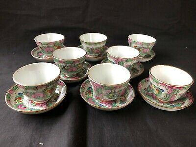 Antique chinese FAMILLE ROSE set of 8 tea cup + Saucer.  Marked Bottom