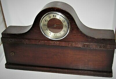 Interesting 1940's Mantle Clock With Built In Cupboard. Clock Is Working