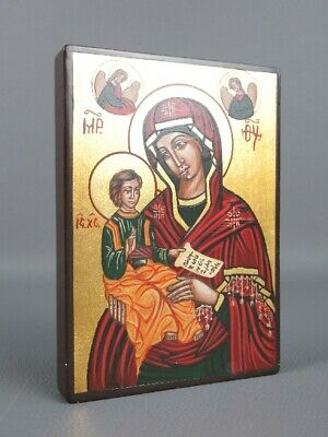 Vintage Icon Romanian Hand-Painted on board Wood Period End Xx Century