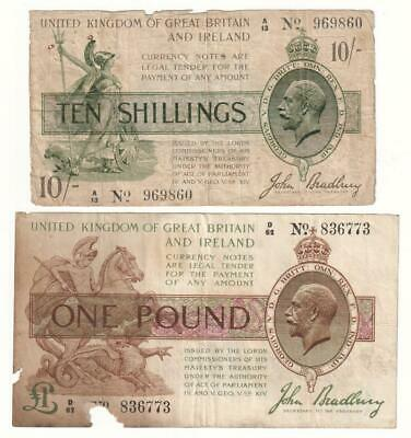 A Pair of Old £1 and 10 Shilling Treasury Banknotes - VG.