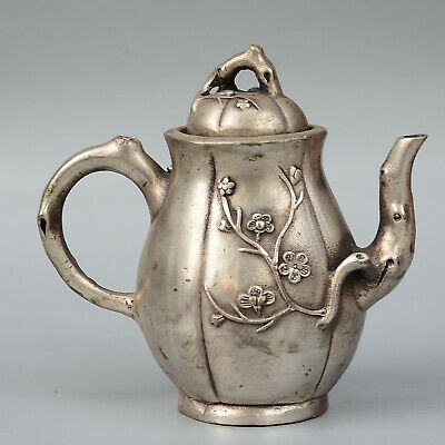 Collectable Qianlong Years Handwork Miao Silver Carve Delicate Flowers Teapot