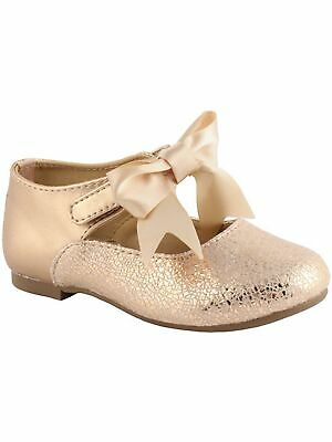 Baby Deer Girls Rose Gold Metallic Foil Bow First Steps Mary Janes 2-4 Baby