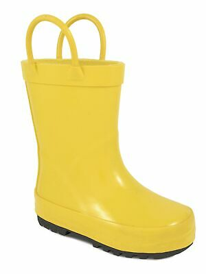 Baby Deer Girls Yellow Rubber Side Handle First Steps Rain Boots 2-4 Baby