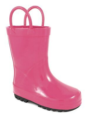 Baby Deer Girls Fuchsia Rubber Side Handle First Steps Rain Boots 4 Baby