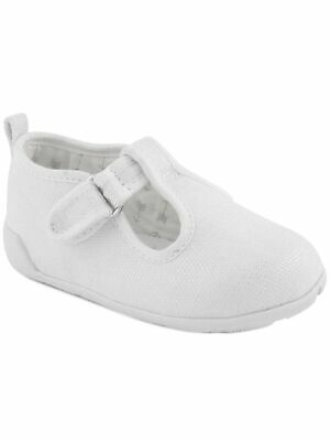 Baby Deer Girls White Canvas T-Strap First Steps Casual Sneakers 2-4 Baby