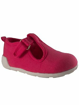 Baby Deer Girls Fuchsia Canvas T-Strap First Steps Casual Sneakers 2-4 Baby