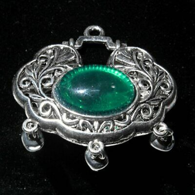 Collect China Miao Silver Mosaic Agate Carve Hollow Out Chic Interesting Pendant