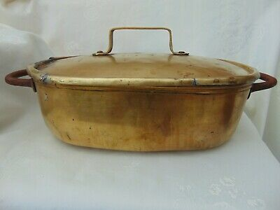 Antique French Primitive Hand Made Bronze Brass Casserole Dish Cocotte - Marked