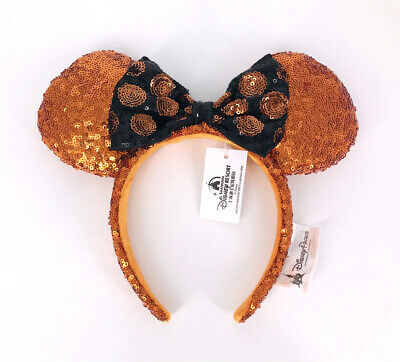 Disney Park Bow Sequins Minnie Mouse Ears Mickey Rare Party Gold Cos Headband