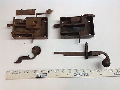 Antique 1800s Forged Iron Pennsylvania Door Lock Elbows Germany Hand Made Lot