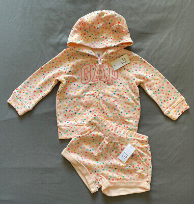 Baby Girl 6-12 Month Baby Gap Pink Heart Print Arch Logo Zip Up Hoodie & Shorts