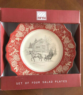 """222 FIFTH  SET OF 4  SALAD PLATES   """"ANDOVER""""  Sleigh Ride Porcelaine Fine  NEW!"""