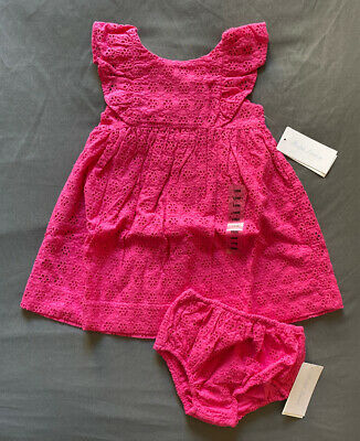 Baby Girl 18 Month Ralph Lauren Pink Floral Eyelet Ruffle Dress & Bloomers