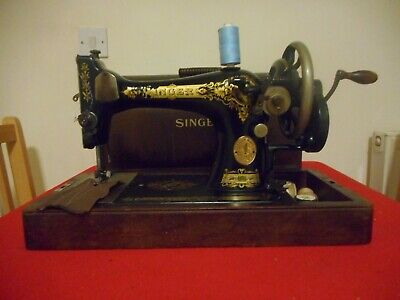 Vintage Singer 28 K Hand Crank Sewing Machine ,With Bow Top Case