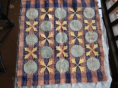 Antique Woven & Embroidered Wool Sampler Piece  Early Cover  PA German Primitive