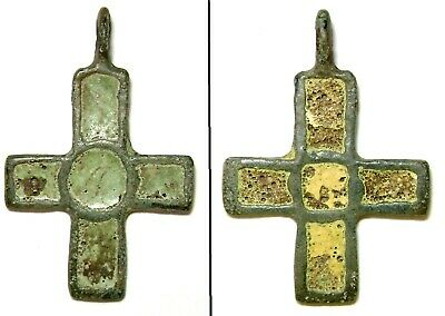 Ancient Very Rare Vikings Age bronze cast cross pendant with enamels.