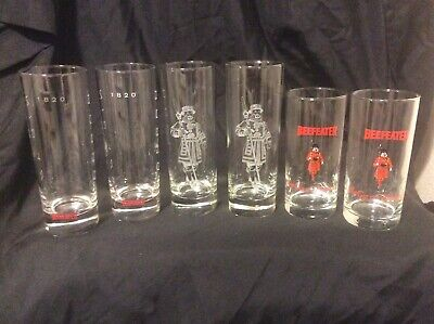 Beefeater London Dry Gin Set of 6 Tom Collins and drinking Glasses A