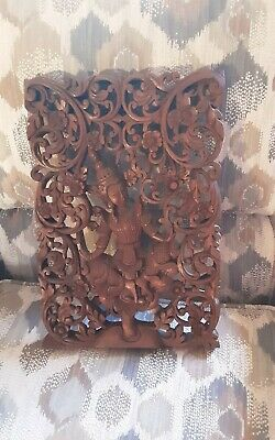 Antique Chinese Hand Carved Wood Wall Hanging/Picture