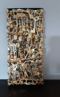 Beautiful Chinese Carved Wood Gilt Ornate Wall Hanging/Picture