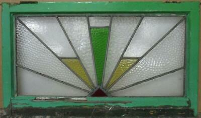 "OLD ENGLISH LEADED STAINED GLASS WINDOW TRANSOM Geometric Burst 29.5"" x 17"""