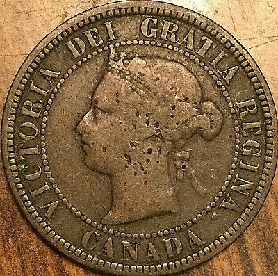 1884 CANADA LARGE CENT LARGE 1 CENT COIN PENNY - Obverse #1