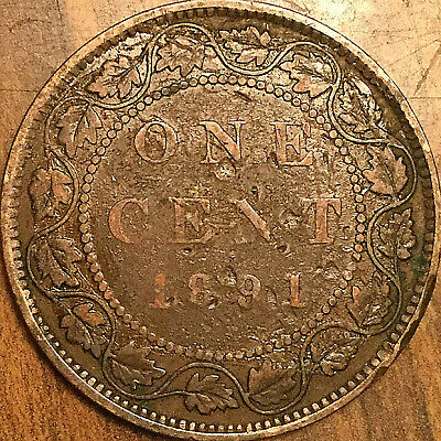 1891 CANADA LARGE CENT LARGE 1 CENT COIN PENNY - SLSD Obverse #3