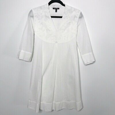 Isabella Oliver Size US 2 Lace Top Maternity Tunic Dress White Tie Waist 3/4 Sle