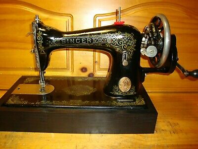 "Antique Singer Sewing Machine  Model 115 ""Gingerbread"" Hand Crank ,Serviced"