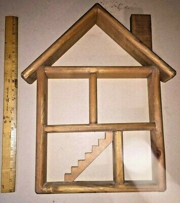 Wood House Wall Shelf Curio Display Cabinet Miniatures Stairs Chimney Wooden