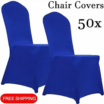 50x Royal Blue Chair Covers Full Seat Cover Spandex Stretch Banquet Wedding Part