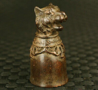 Chinese bronze hand carving tiger statue wine glass cup noble table decoration