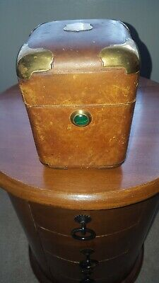Antique/Vintage Small Leather Bound Box With Brass Corners and Malachite  clasp.